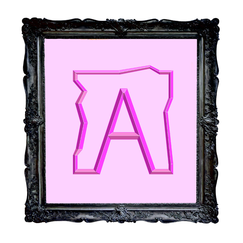 Artistic rendering of ANDOLSEK A-box logo in purple against pink background.