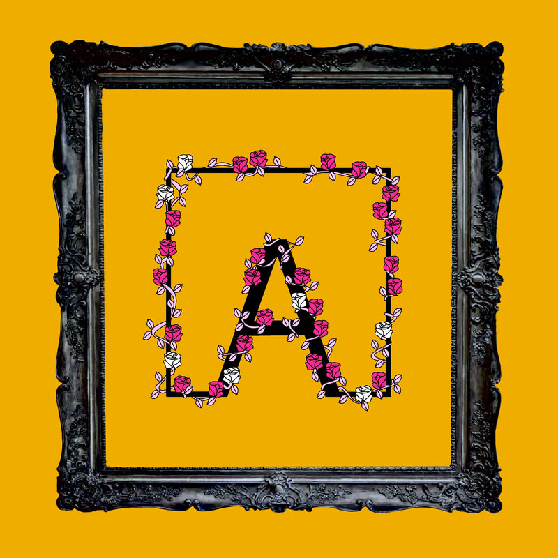 Artistic rendering of ANDOLSEK A-box logo in black and pink against orange background.