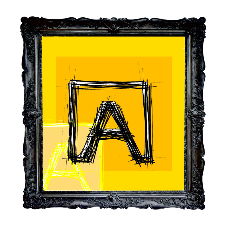 Artistic rendering of ANDOLSEK A-box logo in black against gold background.