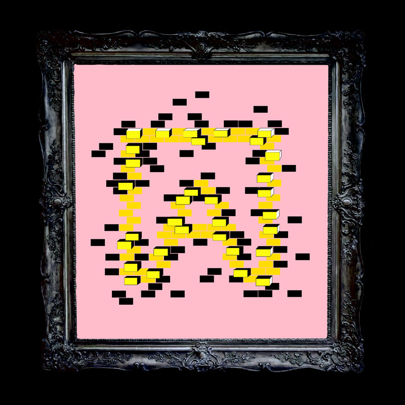 Artistic rendering of ANDOLSEK A-box logo in yellow against pink background.