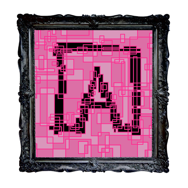 Artistic rendering of ANDOLSEK A-box logo in black against pink background.